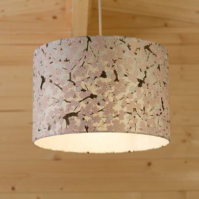 Drum Lamp Shade - W02 ~ Pink Cherry Blossom on Grey, 30cm(d) x 20cm(h)
