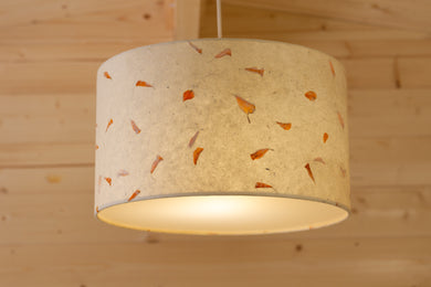 Drum Lamp Shade - P32 - Marigold Petals on Natural Lokta, 35cm(d) x 20cm(h)