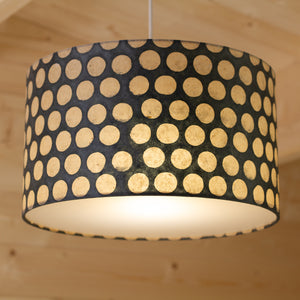 Drum Lamp Shade - P78 - Batik Dots on Grey, 35cm(d) x 20cm(h)