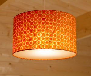 Drum Lamp Shade - P03 - Batik Orange Circles, 35cm(d) x 20cm(h)