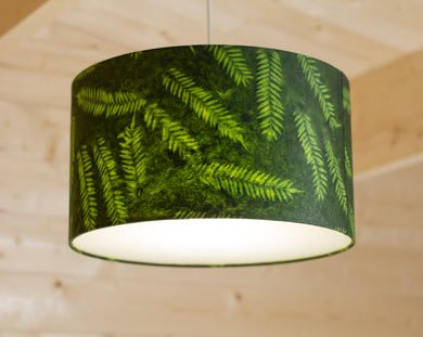 Drum Lamp Shade - P27 - Resistance Dyed Green Fern, 35cm(d) x 20cm(h)