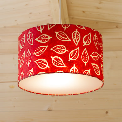 Drum Lamp Shade - P30 - Batik Leaf on Red, 35cm(d) x 20cm(h)
