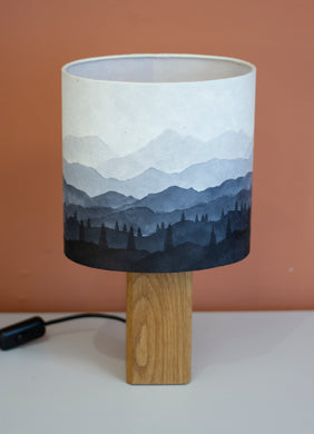 Hand-drawn Ink Sketch Lampshade on a Handmade Oak Table Lamp