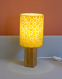 Square Oak Table Lamp with 15x20cm Drum Lamp Shade P71