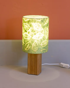 Square Oak Table Lamp with 15x20cm Drum Lamp Shade P29