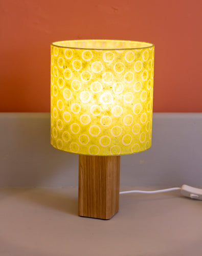 Square Oak Table Lamp with 20x20cm Drum Lamp Shade P02