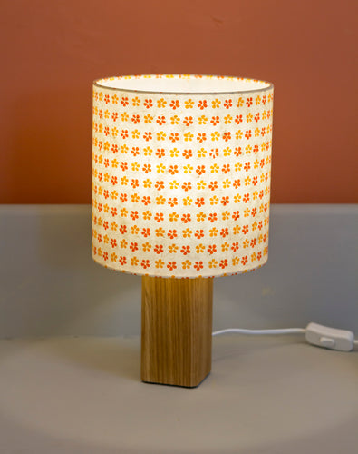 Square Oak Table Lamp with 20x20cm Drum Lamp Shade B101
