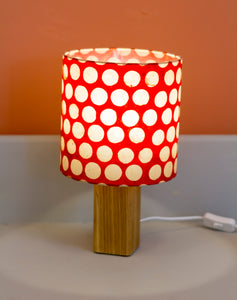 Square Oak Table Lamp with 20x20cm Drum Lamp Shade P84