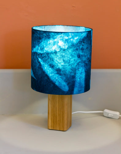 Square Oak Table Lamp with 20x20cm Drum Lamp Shade P99