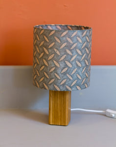 Square Oak Table Lamp with 20x20cm Drum Lamp Shade P88