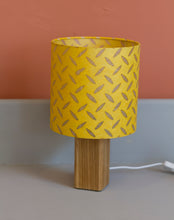 Square Oak Table Lamp with 20x20cm Drum Lamp Shade P89