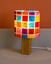Square Oak Table Lamp with 20x20cm Oval Lamp Shade P01