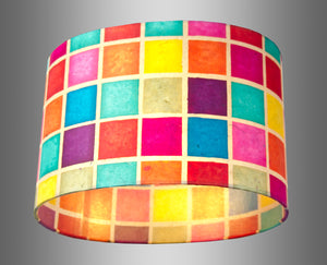 Oval Lamp Shade - P01 - Batik Multi Square, 30cm(w) x 20cm(h) x 22cm(d) - Imbue Lighting
