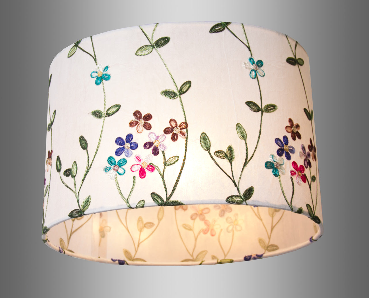 Oval Lamp Shade P43 Embroidered Flowers On White 30cmw X 20cm