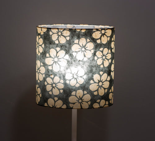 Oval Lamp Shade - P77 - Batik Star Flower Grey, 20cm(w) x 20cm(h) x 13cm(d)
