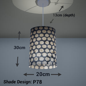 Oval Lamp Shade - P78 - Batik Dots on Grey, 20cm(w) x 30cm(h) x 13cm(d) - Imbue Lighting