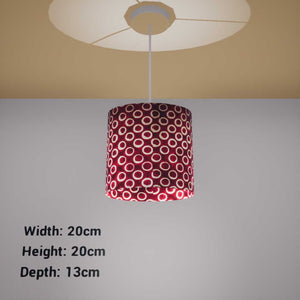 Oval Lamp Shade - P73 - Batik Red Circles, 20cm(w) x 20cm(h) x 13cm(d) - Imbue Lighting