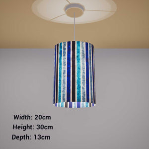 Oval Lamp Shade - P05 - Batik Stripes Blue, 20cm(w) x 30cm(h) x 13cm(d) - Imbue Lighting
