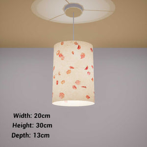 Oval Lamp Shade - P33 - Rose Petals on Natural Lokta, 20cm(w) x 30cm(h) x 13cm(d)