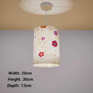 Oval Lamp Shade - P35 - Batik Multi Flower on Natural, 20cm(w) x 30cm(h) x 13cm(d)