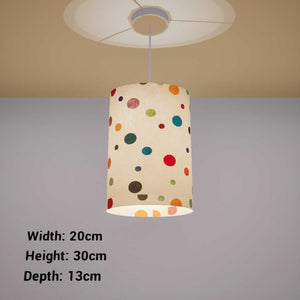 Oval Lamp Shade - P39 - Polka Dots on Natural Lokta, 20cm(w) x 30cm(h) x 13cm(d)