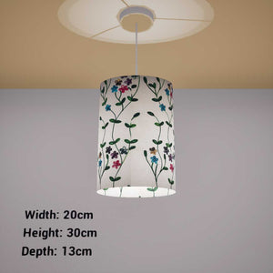 Oval Lamp Shade - P43 - Embroidered Flowers on White, 20cm(w) x 30cm(h) x 13cm(d)