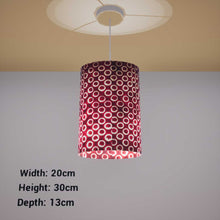 Oval Lamp Shade - P73 - Batik Red Circles, 20cm(w) x 30cm(h) x 13cm(d) - Imbue Lighting