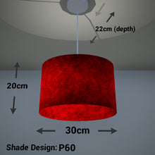 Oval Lamp Shade - P60 - Red Lokta, 30cm(w) x 20cm(h) x 22cm(d)