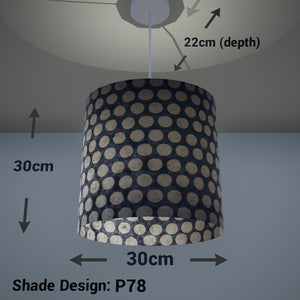 Oval Lamp Shade - P78 - Batik Dots on Grey, 30cm(w) x 30cm(h) x 22cm(d) - Imbue Lighting
