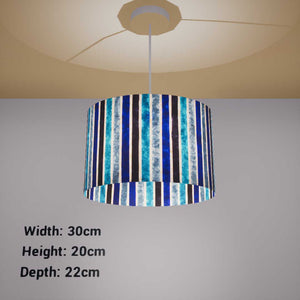 Oval Lamp Shade - P05 - Batik Stripes Blue, 30cm(w) x 20cm(h) x 22cm(d) - Imbue Lighting