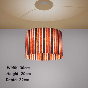 Oval Lamp Shade - P07 - Batik Stripes Brown, 30cm(w) x 20cm(h) x 22cm(d)