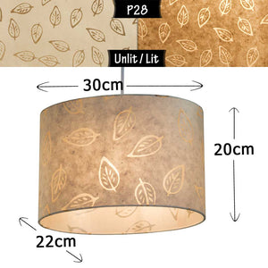 Oval Lamp Shade - P28 - Batik Leaf on Natural, 30cm(w) x 20cm(h) x 22cm(d)