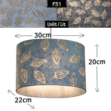 Oval Lamp Shade - P31 - Batik Leaf on Blue, 30cm(w) x 20cm(h) x 22cm(d)
