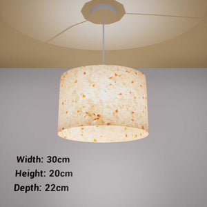 Oval Lamp Shade - P32 - Marigold Petals on Natural Lokta, 30cm(w) x 20cm(h) x 22cm(d)