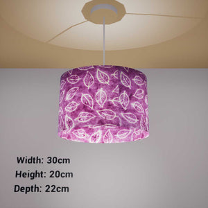 Oval Lamp Shade - P68 - Batik Leaf on Purple, 30cm(w) x 20cm(h) x 22cm(d) - Imbue Lighting