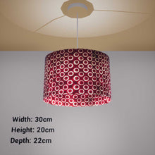 Oval Lamp Shade - P73 - Batik Red Circles, 30cm(w) x 20cm(h) x 22cm(d) - Imbue Lighting