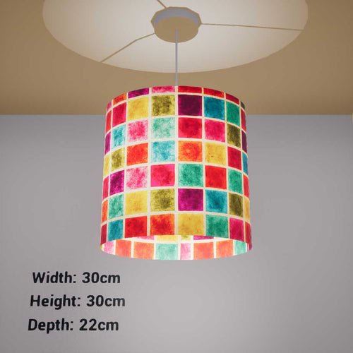 Oval Lamp Shade - P01 - Batik Multi Square, 30cm(w) x 30cm(h) x 22cm(d) - Imbue Lighting