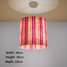 Oval Lamp Shade - P04 - Batik Stripes Pink, 30cm(w) x 30cm(h) x 22cm(d) - Imbue Lighting