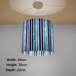 Oval Lamp Shade - P05 - Batik Stripes Blue, 30cm(w) x 30cm(h) x 22cm(d) - Imbue Lighting