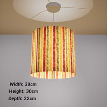 Oval Lamp Shade - P06 - Batik Stripes Autumn, 30cm(w) x 30cm(h) x 22cm(d)