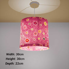 Oval Lamp Shade - P38 - Batik Multi Flower on Purple, 30cm(w) x 30cm(h) x 22cm(d)