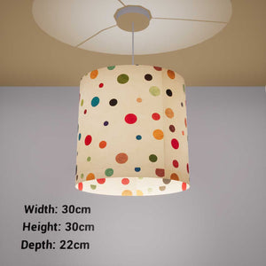 Oval Lamp Shade - P39 - Polka Dots on Natural Lokta, 30cm(w) x 30cm(h) x 22cm(d)