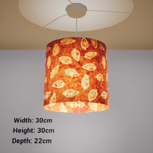 Oval Lamp Shade - P66 - Batik Leaf on Camel, 30cm(w) x 30cm(h) x 22cm(d) - Imbue Lighting