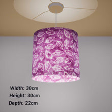 Oval Lamp Shade - P68 - Batik Leaf on Purple, 30cm(w) x 30cm(h) x 22cm(d) - Imbue Lighting