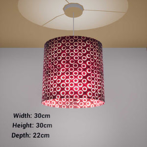 Oval Lamp Shade - P73 - Batik Red Circles, 30cm(w) x 30cm(h) x 22cm(d) - Imbue Lighting