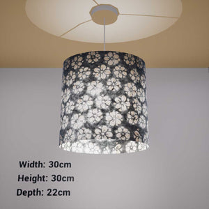 Oval Lamp Shade - P77 - Batik Star Flower Grey, 30cm(w) x 30cm(h) x 22cm(d) - Imbue Lighting
