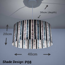 Oval Lamp Shade - P08 - Batik Stripes Grey, 40cm(w) x 20cm(h) x 30cm(d)