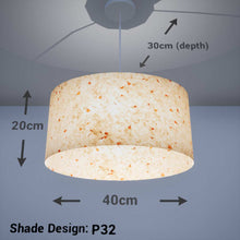 Oval Lamp Shade - P32 - Marigold Petals on Natural Lokta, 40cm(w) x 20cm(h) x 30cm(d)
