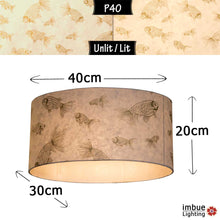 Oval Lamp Shade - P40 - Gold Fish Screen Print on Natural Lokta, 40cm(w) x 20cm(h) x 30cm(d)