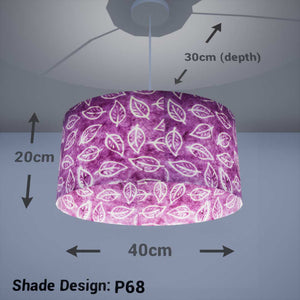 Oval Lamp Shade - P68 - Batik Leaf on Purple, 40cm(w) x 20cm(h) x 30cm(d) - Imbue Lighting